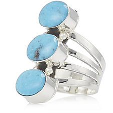 Nizhoni 3 Stone Turquoise Ring Sterling Silver