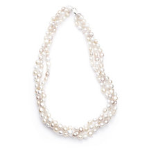 Honora 7-8mm Cultured Button Pearl 3 Row 48cm Necklace Sterling Silver