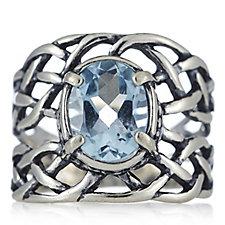 Or-Paz Ornate Gemstone Ring Sterling Silver