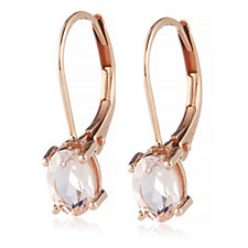 0.5ct Morganite Oval Leverback Earrings 9ct Gold