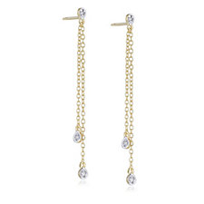 Lisa Snowdon Diamond Double Drop Earrings Sterling Silver