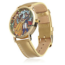 Disney Beauty and the Beast Stained Glass Leather Watch