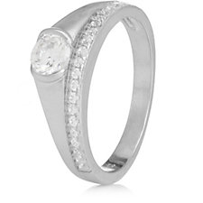 Diamonique 0.7ct tw Solitaire & Half Eternity Ring Sterling Silver