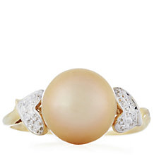 9-10mm Cultured Golden South Sea Pearl 14ct Gold Ring