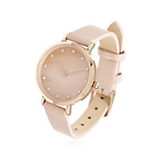 Diamonique 0.1ct tw Mother of Pearl Leather Strap Watch