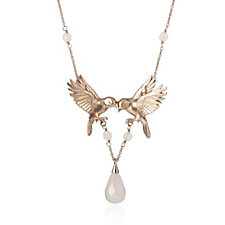 Bill Skinner Double Bird Drop Crystal 42cm Necklace