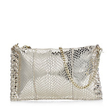 Frank Usher Snake Effect Suede Leather Clutch Bag with Chain Strap