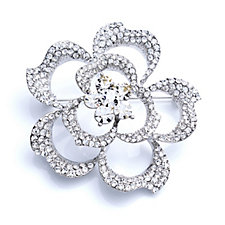 loveRocks Pave Crystal Flower Brooch