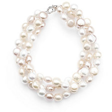 Honora 7-8mm Cultured Button Pearl Bracelet Sterling Silver
