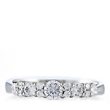 Diamoique 0.6ct tw Graduated Band Ring Sterling Silver