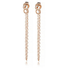 0.2ct Morganite Chain Stud Earrings Rose Gold Vermeil Sterling Silver
