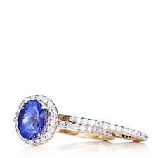 1.15ct AAA Tanzanite & 0.44ct Diamond Halo Ring Set 18ct Gold