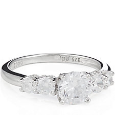 Michelle Mone for Diamonique 1.7ct tw 5 Stone Ring Sterling Silver