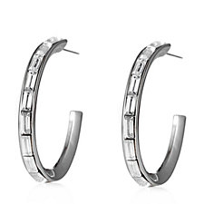 305714 - Frank Usher Princess Cut Crystal Hoop Earrings