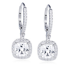 Diamonique 4.1ct tw Cushion Cut Drop Earrings Sterling Silver