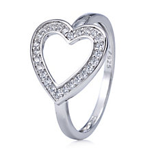 Diamonique 0.2ct tw Side Heart Ring Sterling Silver