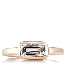 1ct Morganite Octagon Cut East West Ring Rose Gold Vermeil Sterling Silver