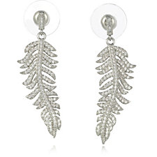 308714 - Frank Usher Crystal Feather Drop Earrings