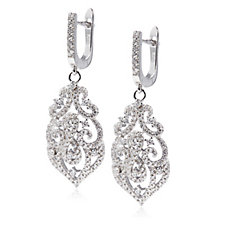 Diamonique by Tova 1.3ct tw Ornate Earrings Sterling Silver