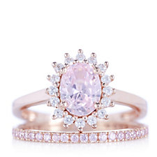 Diamonique 2.6ct tw Simulated Pink Diamond Rose Gold Ring Set Sterling Silver