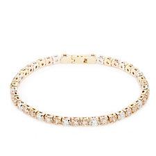Diamonique 10ct tw Tri-Colour Tennis 19cm Bracelet Sterling Silver