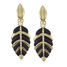 Roberto by RFM Black & Gold Tone Leaf Drop Earrings
