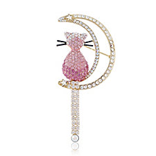 Butler & Wilson Crystal Cat on Halfmoon Brooch