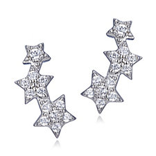 Diamonique 0.2ct tw Star Earclimbers Sterling Silver