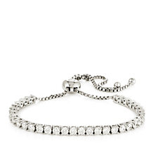 Diamonique 3.5ct tw Tennis Friendship Bracelet Sterling Silver