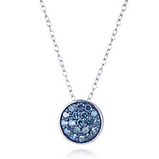 Lisa Snowdon Blue Diamond Circle Pendant & Chain Sterling Silver