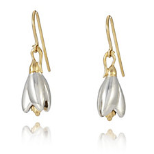 Azendi Birthday Flowers Snowdrop Earrings Sterling Silver