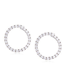 Diamonique 1.5ct tw Front to Back Hoop Earrings Sterling Silver