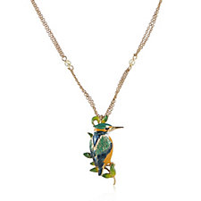 Bill Skinner 18ct Gold Plated King Fisher Pin Pendant & 70cm Chain