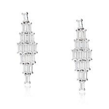 Diamonique by Tova 4.8ct tw Baguette Cut Drop Earrings Sterling Silver