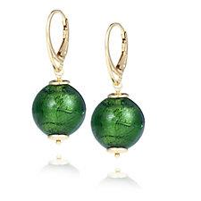 Murano Glass 15mm Bead Drop Earrings Sterling Silver