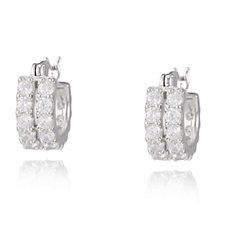 Diamonique 2ct tw 2 Row Huggie Earrings Sterling Silver