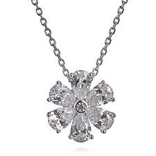 Diamonique 3ct tw Flower Pendant & 45cm Chain Sterling Silver