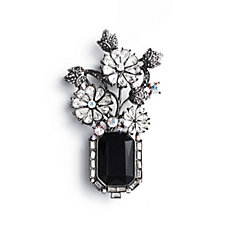 Butler & Wilson Couture Crystal 3 Flower & Faceted Stone Brooch