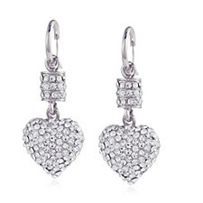 Nour Crystal Pave Heart Drop Lever Back Earrings