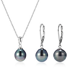 9mm Cultured Tahitian Pearl Earrings & Necklace Set Sterling Silver