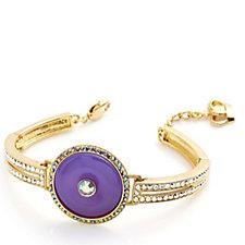 Butler & Wilson Art Deco Style Jade Circle & Crystal Bracelet