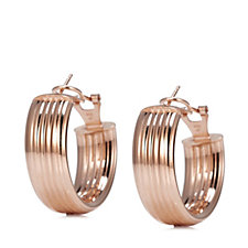 Veronese Round Ribbed Hoop Earrings Sterling Silver