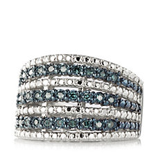 307718 - 0.25ct Blue Diamond Band Ring Sterling Silver