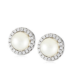 Diamonique 0.4ct tw Simulated Pearl Earrings Sterling Silver