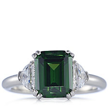 Diamonique 6ct tw Emerald Cut Cocktail Ring Sterling Silver