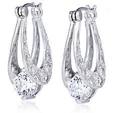 Diamonique by Tova 2.4ct tw Filigree Floating Drop Earrings Sterling Silver