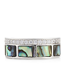 308918 - Diamonique 0.19ct tw Mother of Pearl Band Ring Sterling Silver