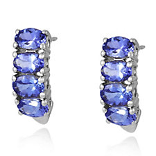 3.6ct AAA Tanzanite Half Hoop Earrings 18ct Gold