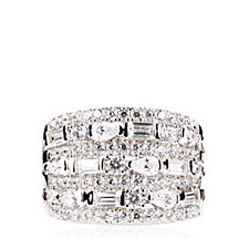 Diamonique by Tova 2.4ct tw Mixed Cut Band Ring Sterling Silver