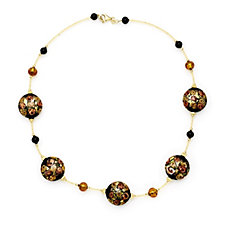 Murano Glass 22mm Millerose Disc Necklace Sterling Silver
